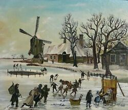 J. Van Buiksloot French Village In Winter 5 Oil On Canvas Signed L.r.