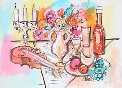 Charles Cobelle, Still Life With Wine And Violin 1, Acrylic On Paper, Signed L.r