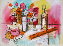 Charles Cobelle, Still Life With Wine And Flowers 1, Acrylic On Paper, Signed L.