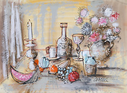 Charles Cobelle, Still Life With Wine And Fruit 1, Acrylic On Paper, Signed L.r.