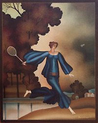 Igor Galanin Woman Playing Badminton Oil On Canvas Signed L.r.