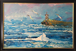 Morris Katz, Seascape With Lighthouse, Acrylic On Board, Signed L.r.