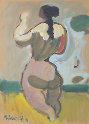 Moshe Rosentalis, Standing Nude, Gouache On Board, Signed And Dated
