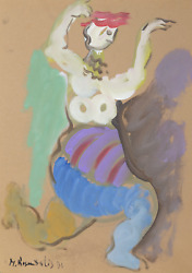Moshe Rosentalis, Running Figure, Gouache On Board, Signed And Dated