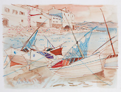 Charles Levier Sailboats At Shore Watercolor On Paper Signed L.r.
