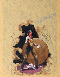Unknown Artist Colorado With Gambling Cowboy Collage And Painting On Paper Si