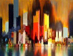 James Sherman Cityscape 5 Oil On Canvas Signed L.r.