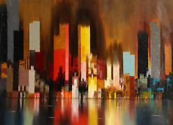 James Sherman Cityscape 9 Oil On Canvas Signed L.r.