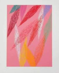 Piero Dorazio Pink Abstract Screenprint Signed And Numbered In Pencil