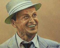 Mickey Frome Frank Sinatra Oil On Canvas Signed L.r.