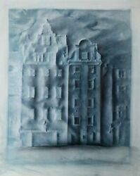 Peter Paul, Blue Houses, Drawing With Wash, Signed And Dated Middle Right