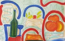 Abiezer Agudelo Still Life With Wine And Fruit Mixed Media With Acrylic On Pap