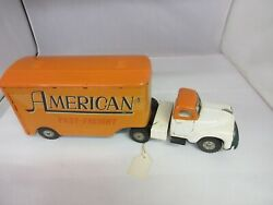 Vintage American Fast Freight Truck Trailer Tin Toy 66-c