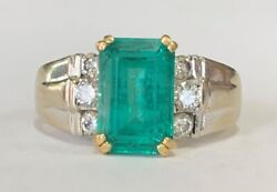 Estate Jewelry Ladies 3.5+ Ctw Emerald And Diamond Ring 14k White Gold Size 8