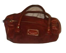 Kate Spade Red Leather Suede Barrel Bag Purse A3 $49.99