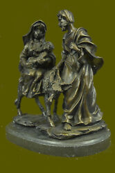 Baby Jesus Mary And Joseph Signed Christian Art Bronze Sculpture Figure On Marble