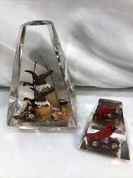 Vintage Retro Lucite Acrylic Geese Ducks And Cardinal Prism Paperweight Decor 7andrdquo