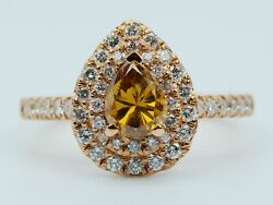 14k Rose Gold Orangy-brown Pear Shape Diamond With A Double Halo Diamonds Ring