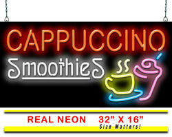 Cappuccino Smoothies Neon Sign   Jantec   32 X 16   Coffee Shop Cafe Blended