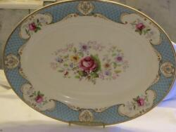 Myott Son And Co Staffordshire Rose Blue 16 Inch Large Oval Platter