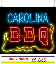 Carolina Bbq Neon Sign   Jantec   32 X 27   Pulled Pork Sandwiches Barbeque