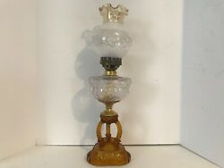 Eapg 1880andrsquos - 90andrsquos Andldquocathedralandrdquo Amber Base Clear Glass Font Oil Kero Thuro Lamp