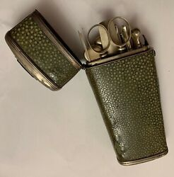 A Rare Shagreen And Silver Etui Fitted With Several Medical Tools.