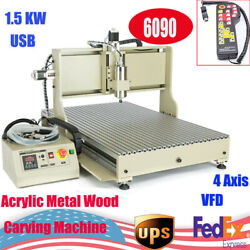 Usb 4 Axis 6090 Cnc Router Ball Screw 3d Milling Engraving Machine 1500w + Rc