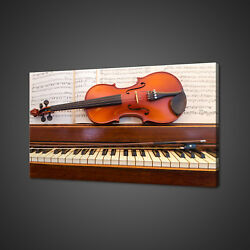 Violin Piano Music Instruments Box Mounted Canvas Print Wall Art Picture Photo