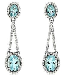 3.77ct Diamond And Aaa Aquamarine 14kt White Gold 3d Oval And Round Hanging Earrings