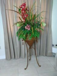 Vintage Wrought Iron Copper Plant Stand Tall Indoor Planter Ornate Patio Porch