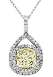 .95ct White And Fancy Yellow Diamond 14kt 2 Tone Gold 3d Cluster Tear Drop Pendant