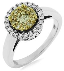 Estate .65ct White And Fancy Yellow Diamond 14k 2 Tone Gold Flower Friendship Ring