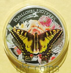 2013 Andorra Butterfly 3d 1 Oz Silver Proof Colored Coin Wildlife Wwf Fauna 3