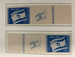 Israel Stamps 1949 Flag Right And Left Tabs M.n.h.