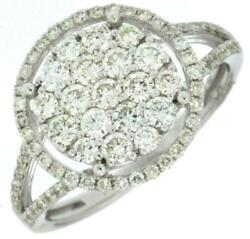 Large 1.08ct Diamond 14kt White Gold Cluster Round Halo Friendship Promise Ring