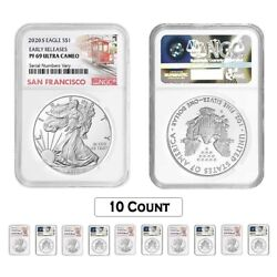 Lot Of 10 - 2020-s 1 Oz Proof Silver American Eagle Ngc Pf 69 Ucam Er Sf Label
