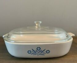 Original Corning Ware Blue Cornflower 9.5 Inch Cookware With Lid - Vintage 1970s