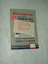 Vintage General Electric Owners Manual Sandwich Grill Waffle Iron Mint Shape