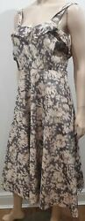 Acne Cream And Brown Smudge Abstract Print Sleeveless A-line Calf Length Dress 38