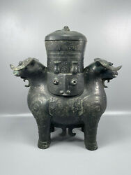 12.8and039and039 China Antique Brass Respect Ancient Old Bronze Pot Sheep Respect