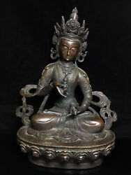 17.2and039and039 China Antique Brass Statue Tibet Old Bronze Kwan-yin Guanyin Statue