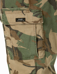Menand039s Wrangler Camo Flex Cargo Pants Relaxed Fit Tech Pocket All Sizes 34-48 New