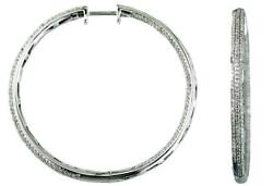 Large 2.0ct Diamond 14kt White Gold 3d 3 Row Inside Out Hoop Hanging Earrings