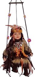 16 Native American/indian Girl On Swing Collectible Porcelain Doll, Dark Brown