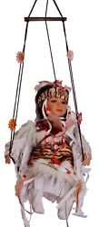 16 Native American/indian Girl On Swing Collectible Porcelain Doll, White