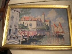 Original Antique Oil Painting On Canvas Venice Italy Murphy 1932 Listed