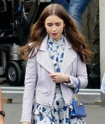 Womenand039s Genuine Lambskin Leather Jacket Lily Collins Emily Jacket