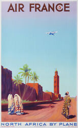 Air France North Africa By Plane Airplane Vintage Poster Of 1936