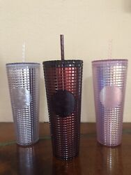 3 Starbucks Pink Silver Cranberry/plum 2020 Studded Disco Cup Cold Tumbler Set